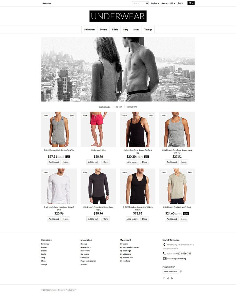 Underwear for Men PrestaShop Theme New Screenshots BIG