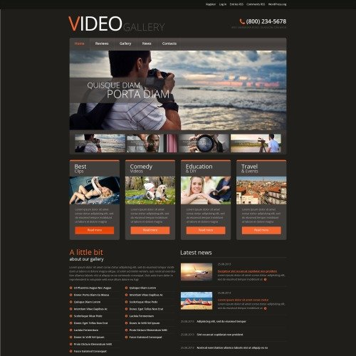 Video Gallery - WordPress Template based on Bootstrap