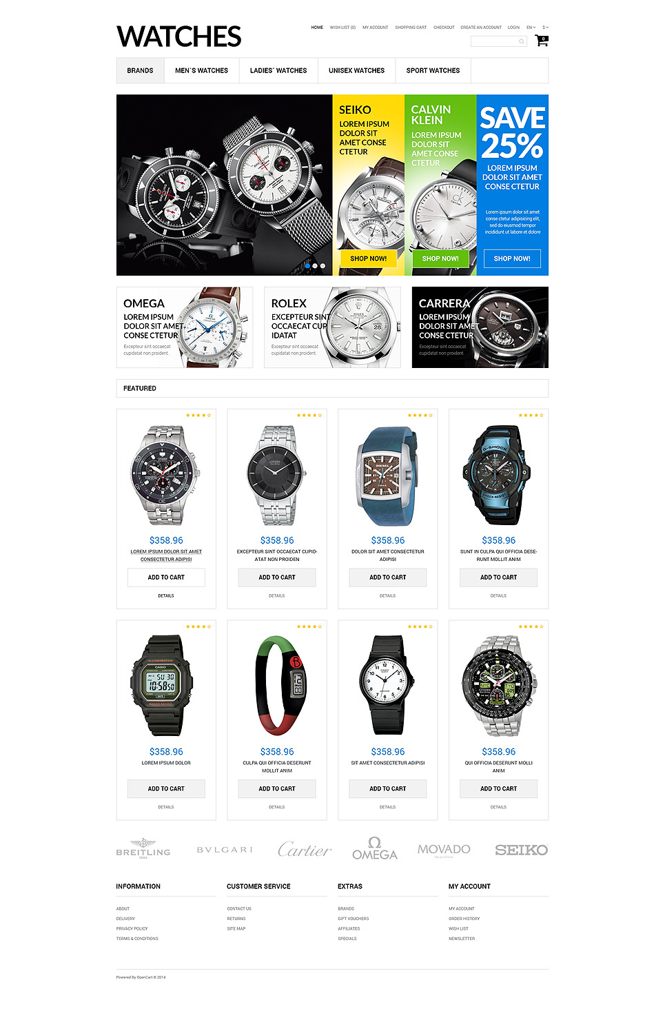 Watches Assortment OpenCart Template New Screenshots BIG
