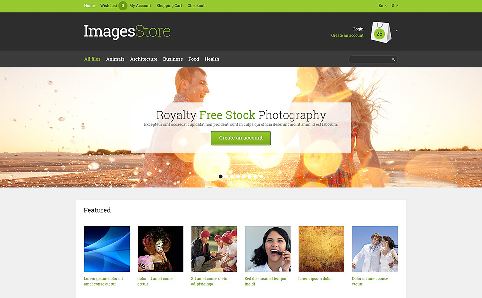 Responsive OpenCart Vorlage für Stockfoto New Screenshots BIG
