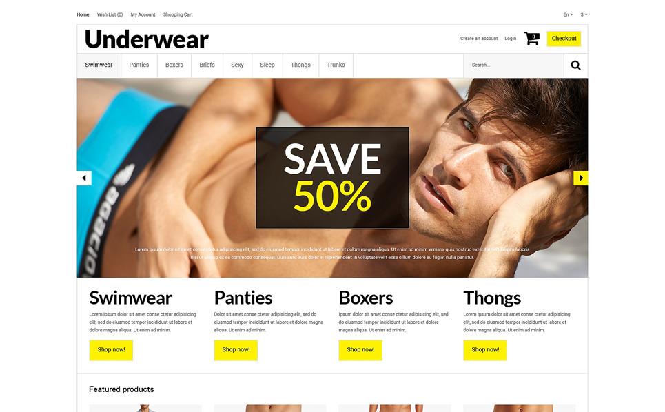 Responsive Men's Underwear Templates Opencart Şablon New Screenshots BIG