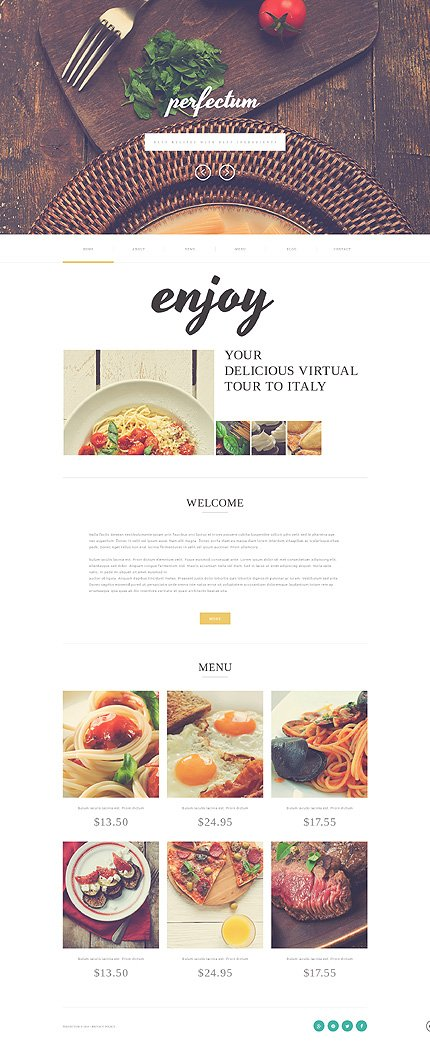Template #51118 European Restaurant Responsive Template - Desktop Layout