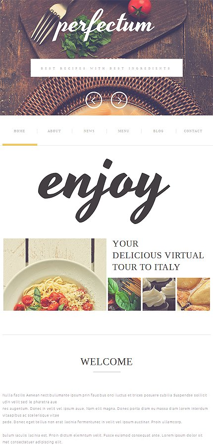 Template #51118 European Restaurant Responsive Template - Tablet Layout