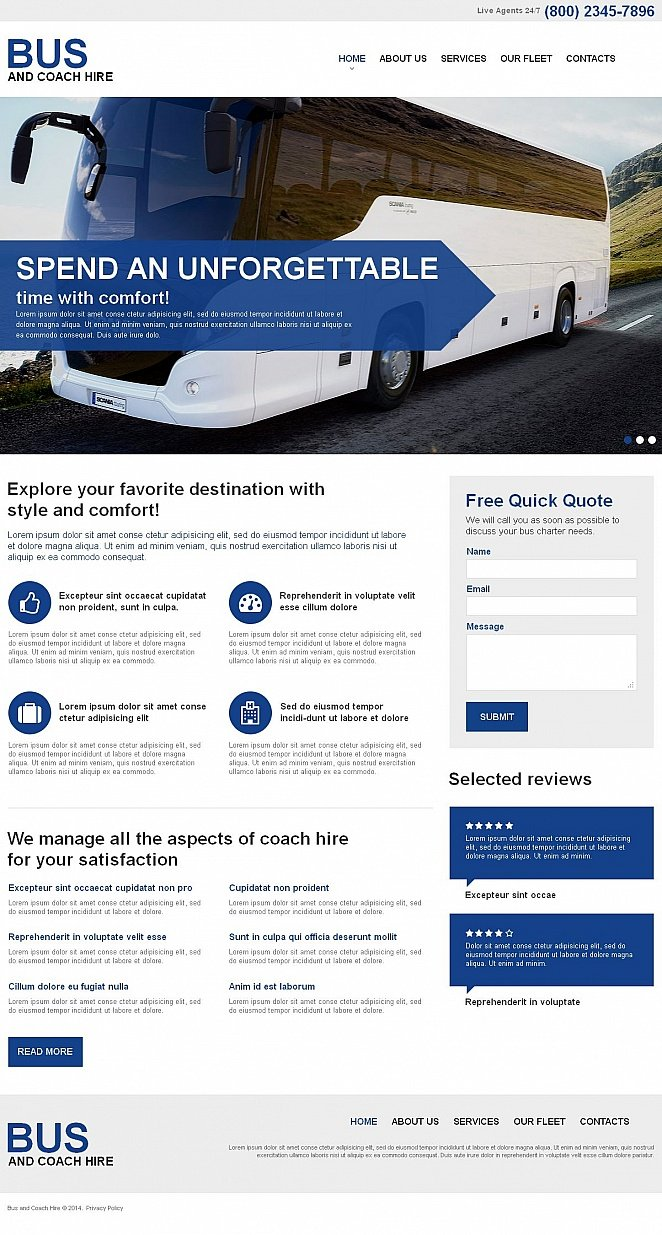 Bus Hire Website Template - image