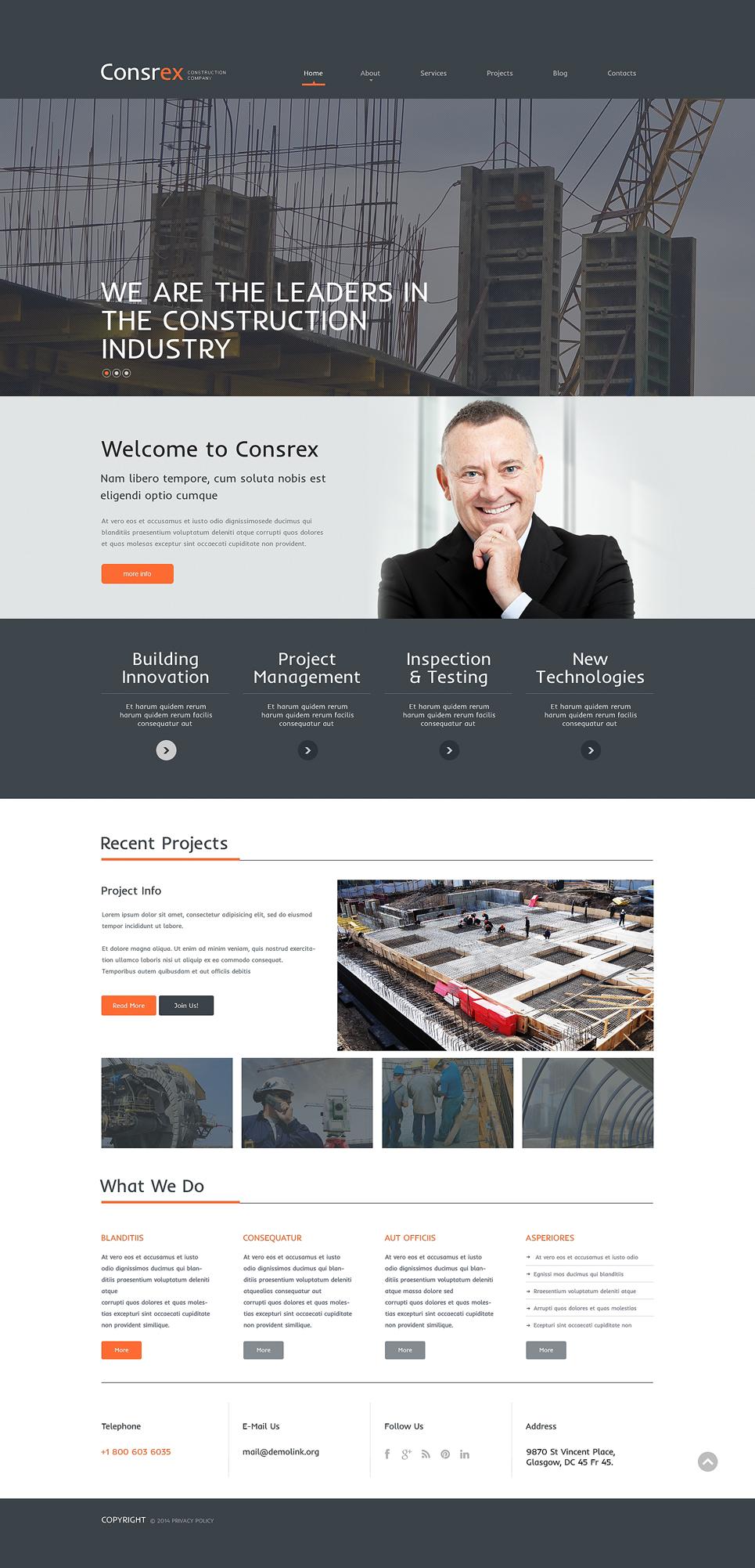 Адаптивный шаблон сайта на тему строительные компании #51143