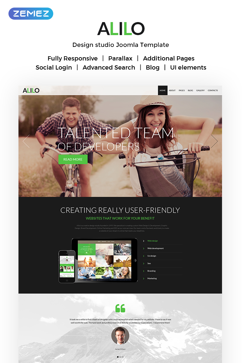 """Alilo - Web Design Multipage Modern"" - адаптивний Joomla шаблон №51148"