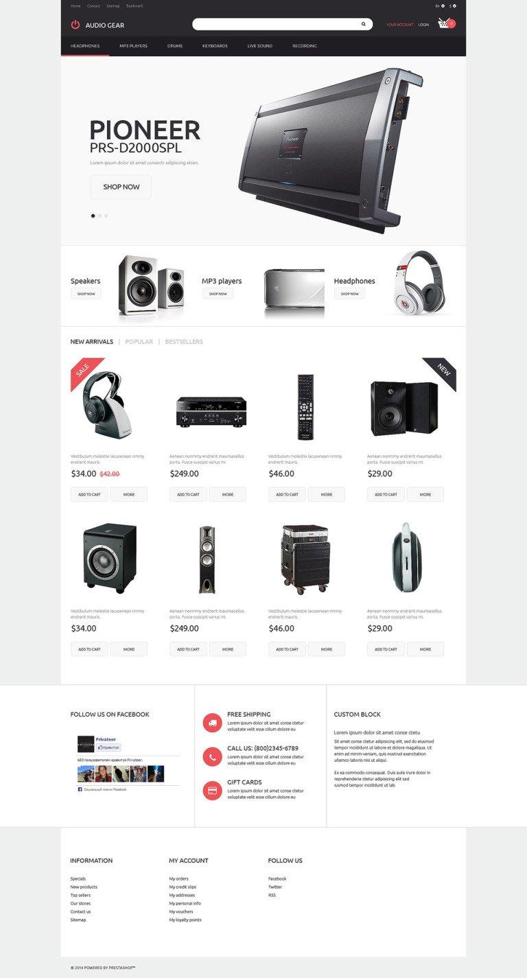 Audiogear Shop PrestaShop Theme New Screenshots BIG