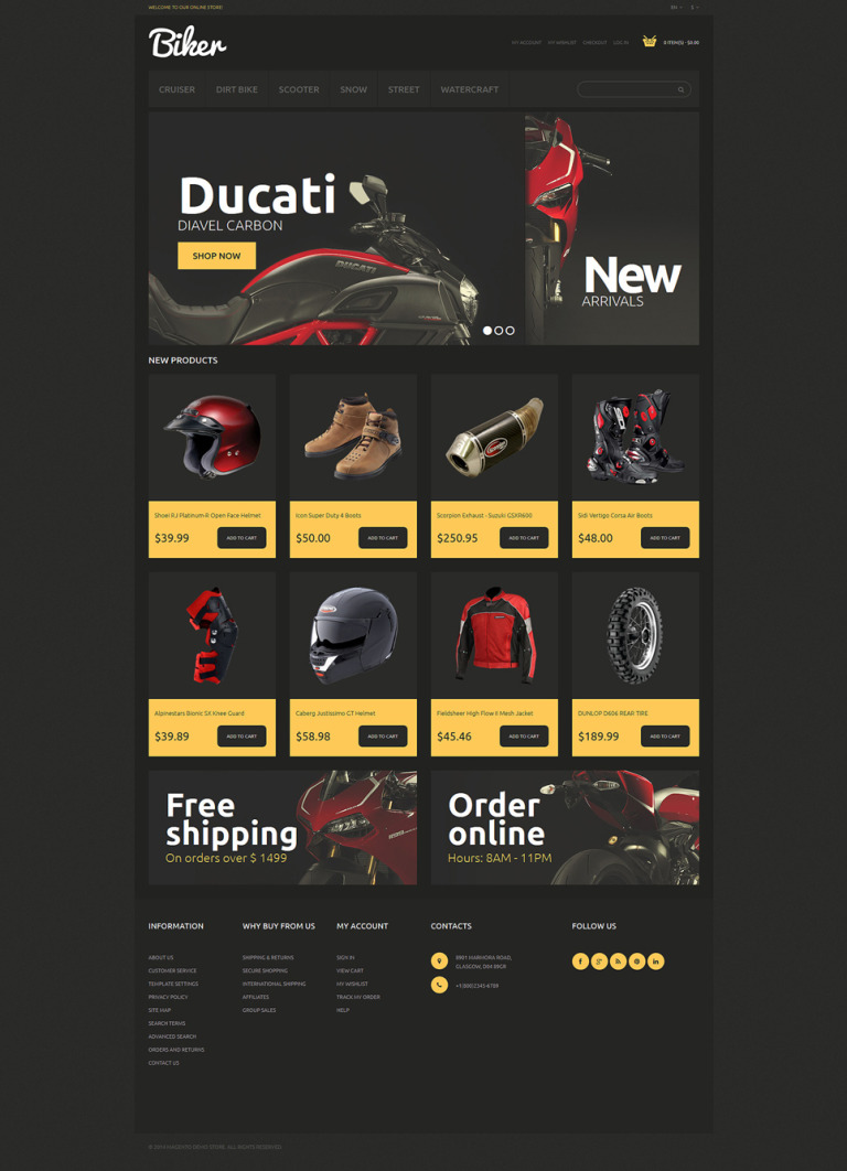 Bikes and Motorcycles Magento Theme New Screenshots BIG