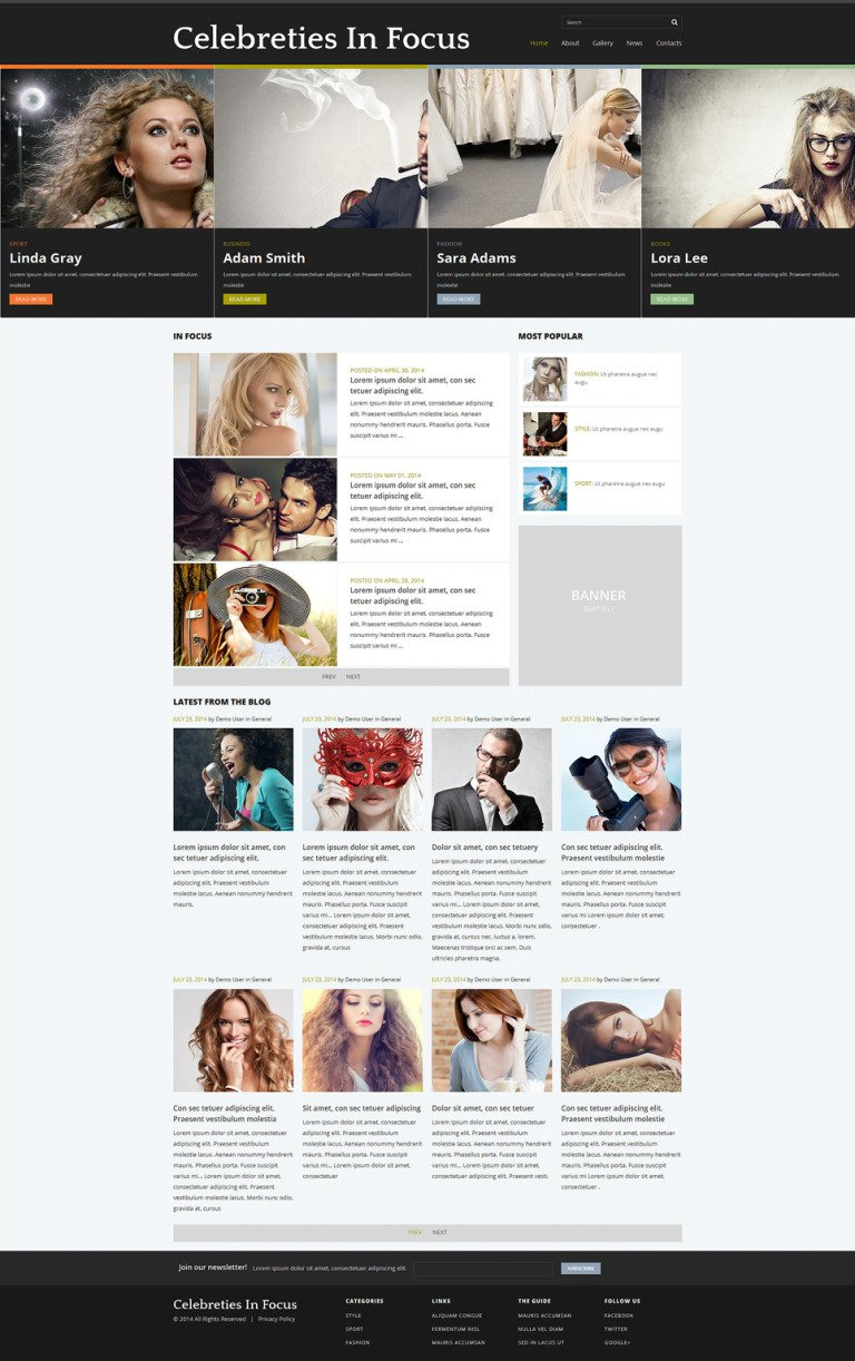 Celebrity Gossip Joomla Template New Screenshots BIG