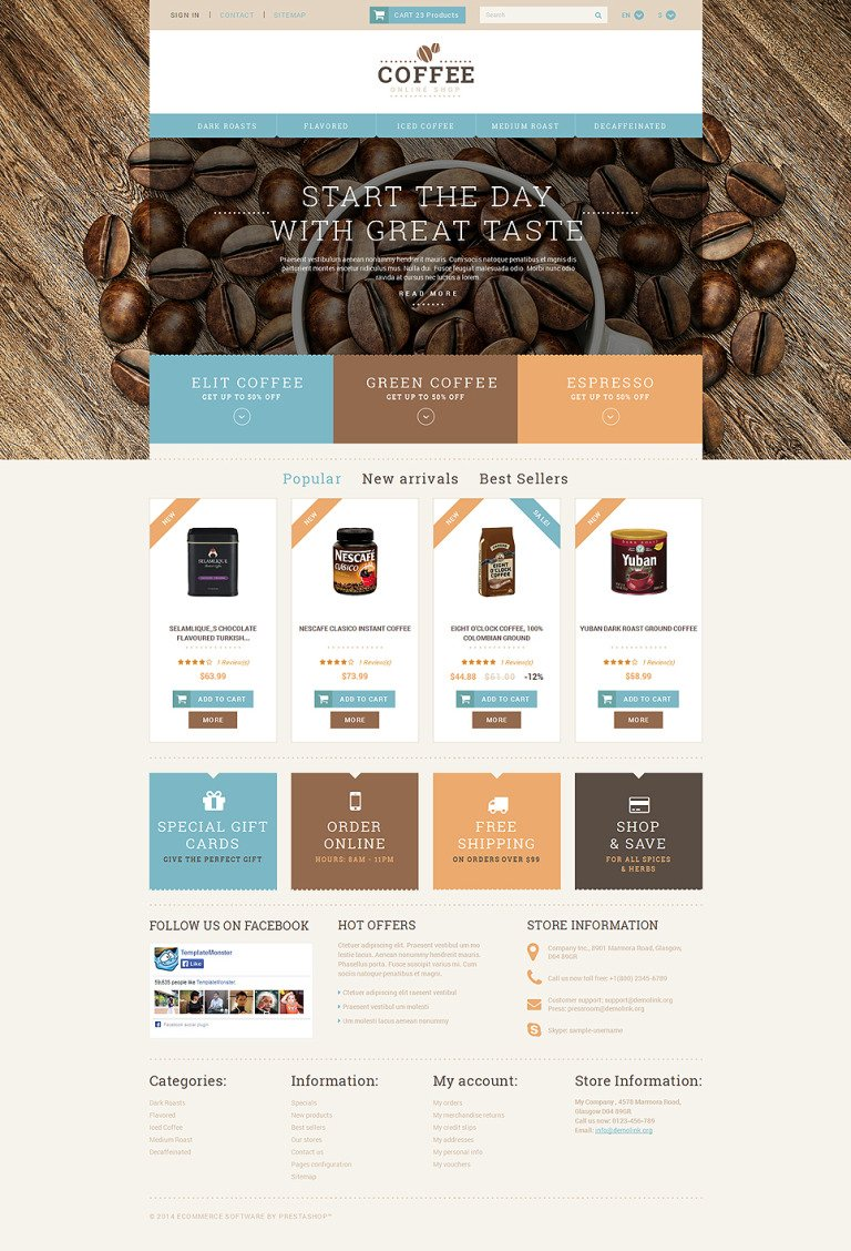 Coffee Shop Responsive PrestaShop Theme New Screenshots BIG