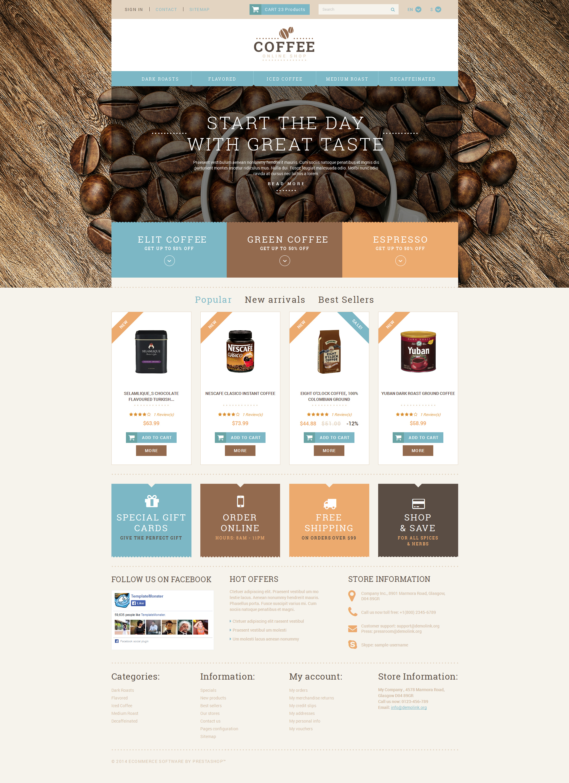 Coffee Shop Responsive PrestaShop Theme - screenshot
