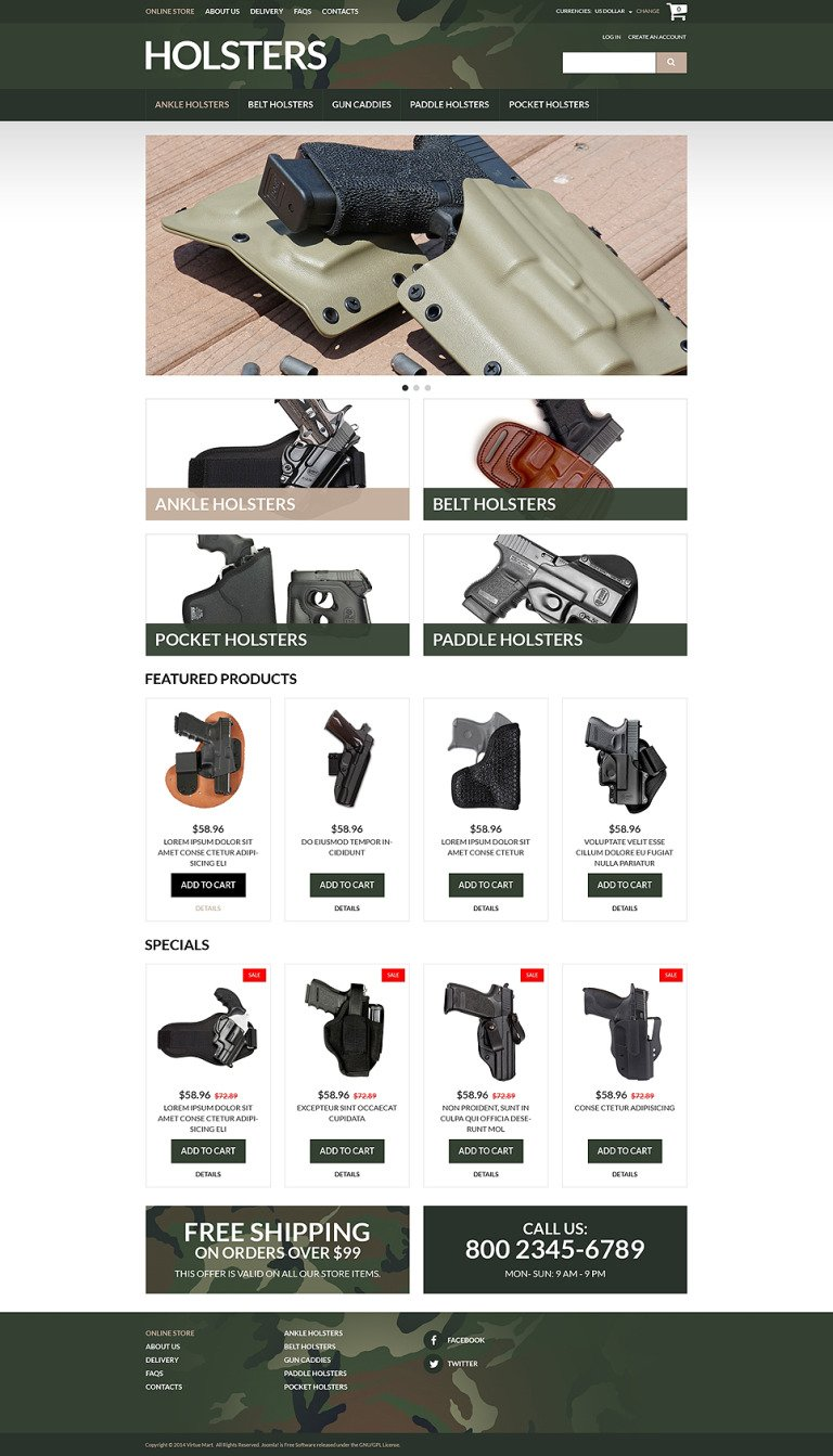 Durable Holsters for Weapons VirtueMart Template New Screenshots BIG
