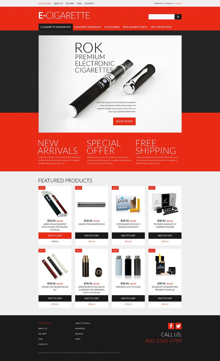 eCigs Vaping Supplies VirtueMart Template New Screenshots BIG