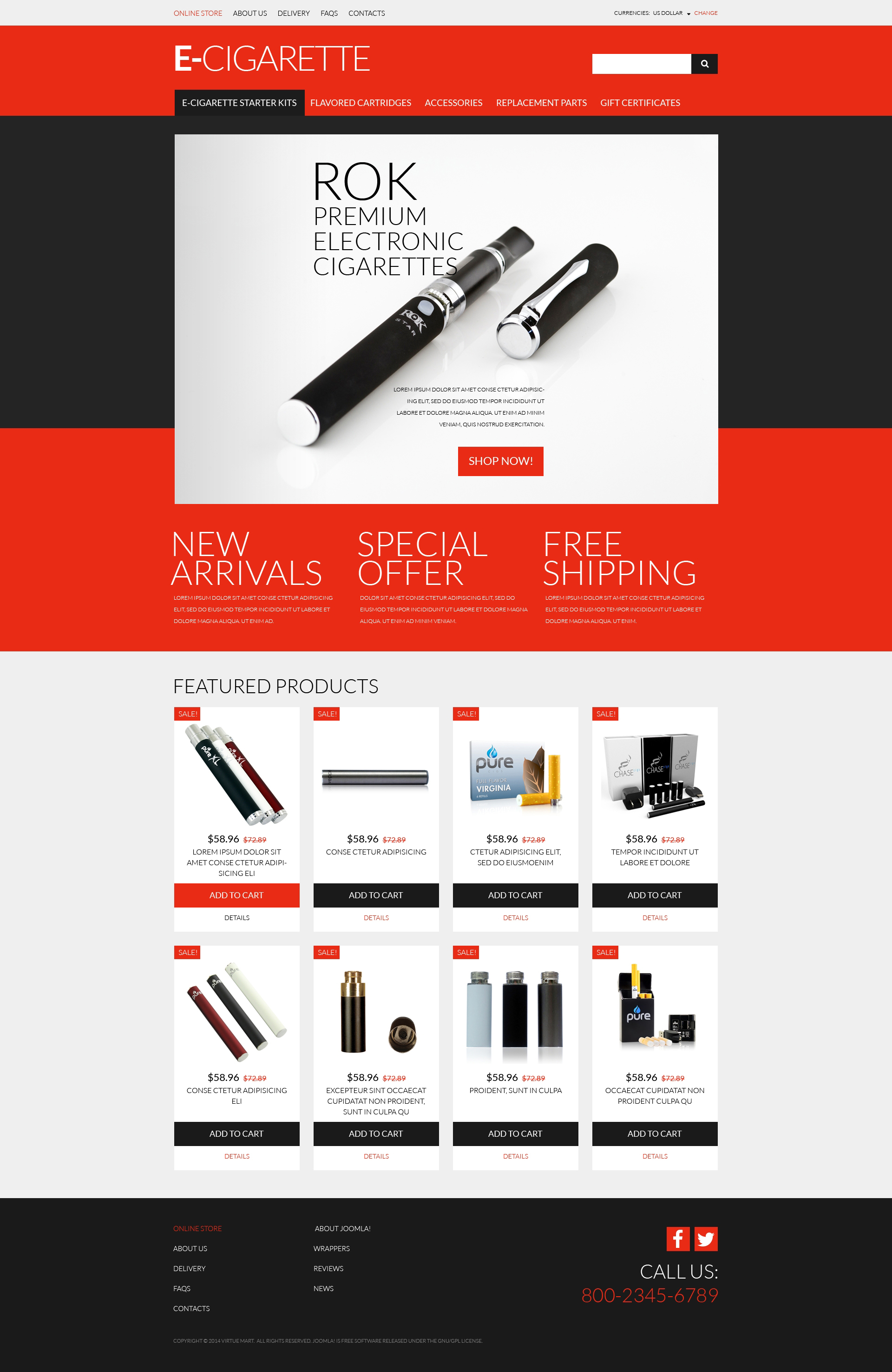 Ecigs Vaping Supplies Virtuemart Template 51179