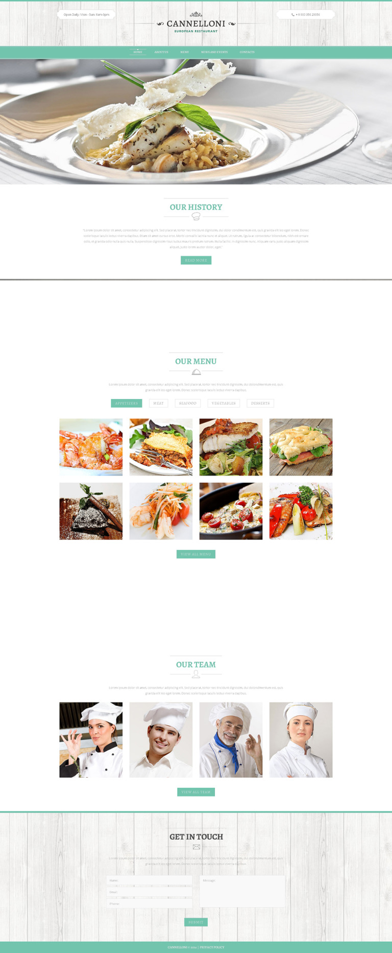 European Restaurant Responsive Website Template New Screenshots BIG
