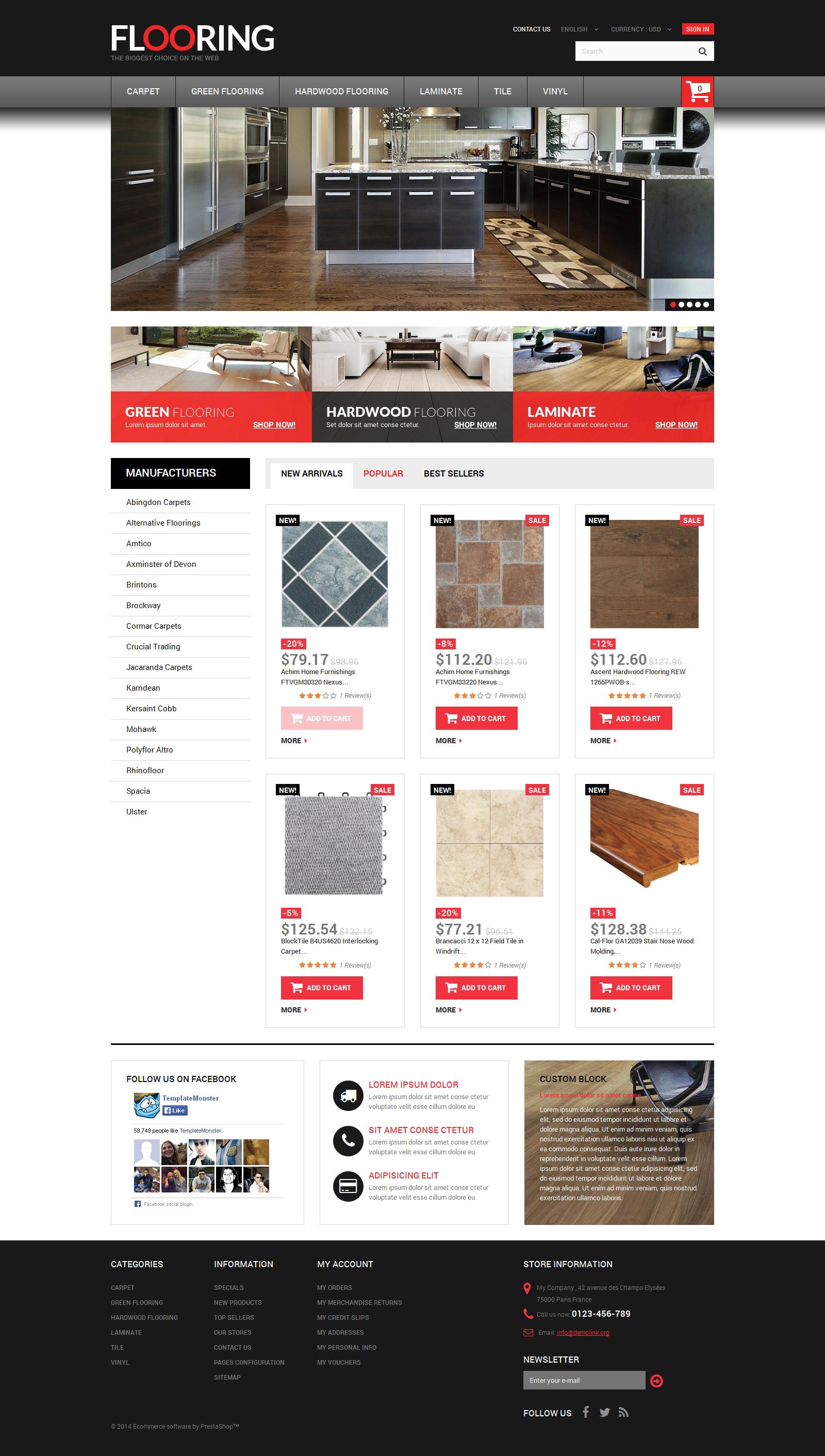Flooring Store PrestaShop Theme - screenshot