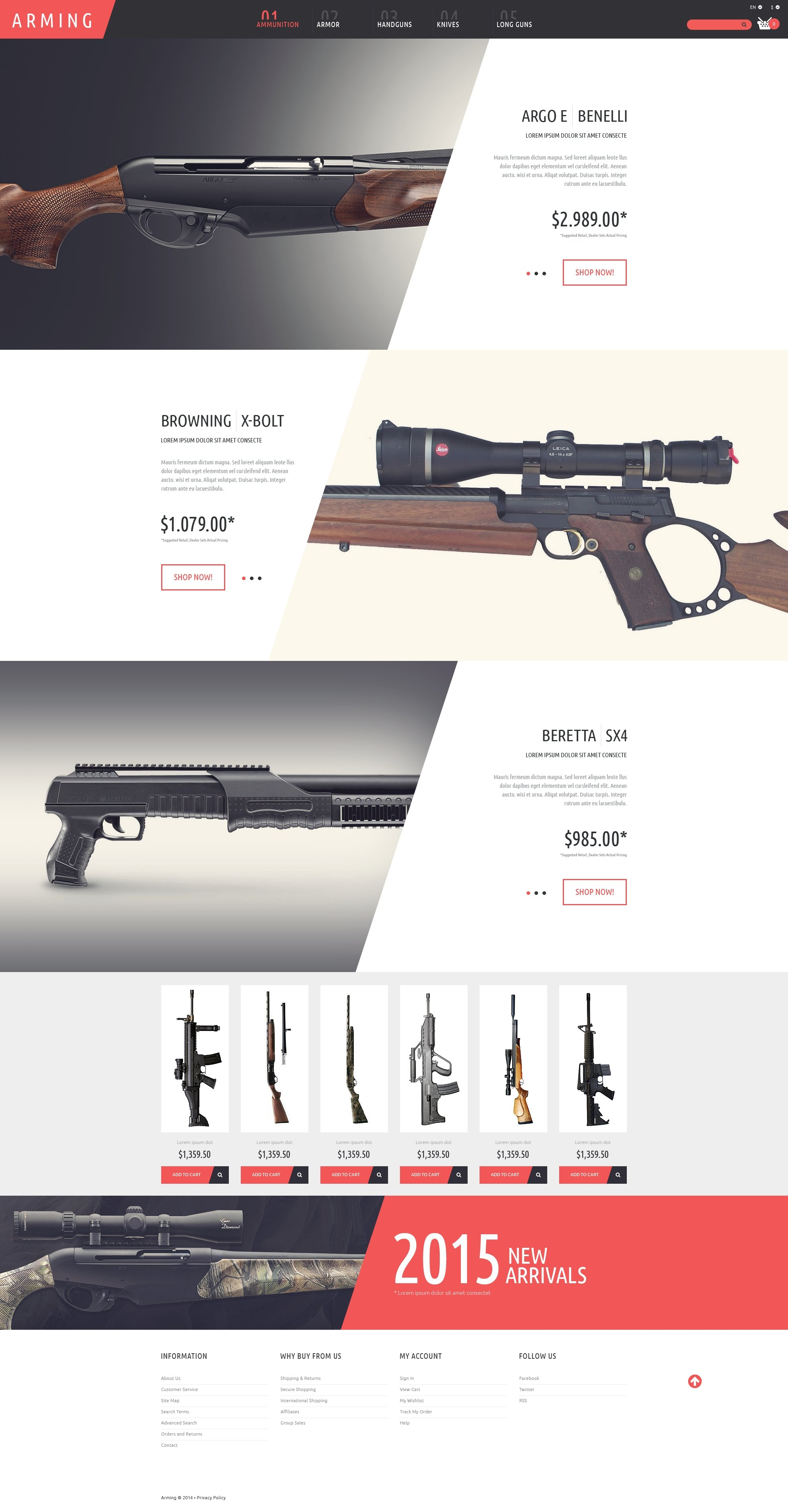 Gun Shop PSD Template - screenshot