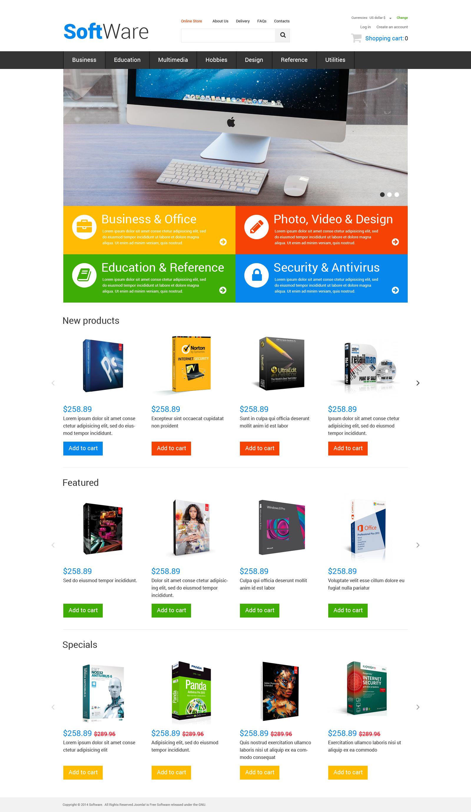 Highend Office Software VirtueMart Template