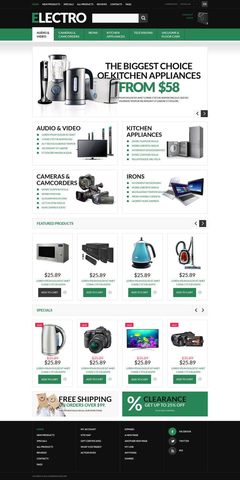 Innovative Home Electronics ZenCart Template New Screenshots BIG