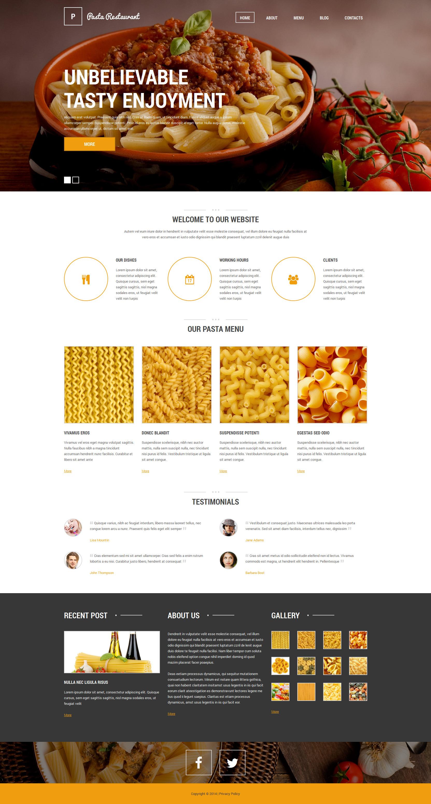 """Italian Pasta Restaurant"" - Drupal шаблон №51126"