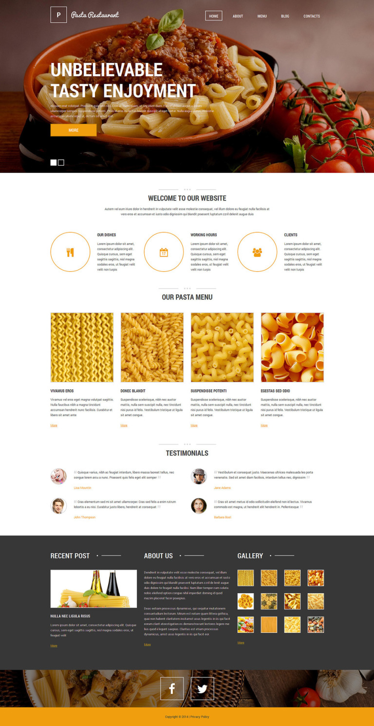 Italian Pasta Restaurant Drupal Template New Screenshots BIG