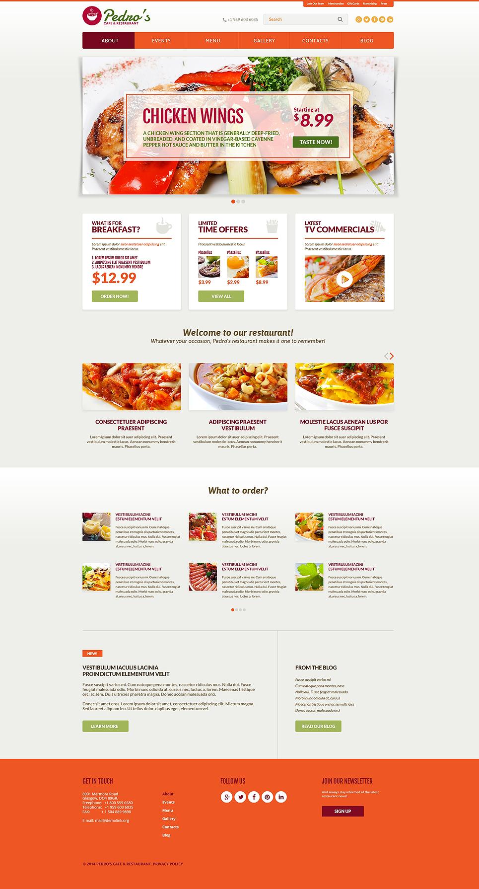Italian Restaurant Responsive Website Template 51181