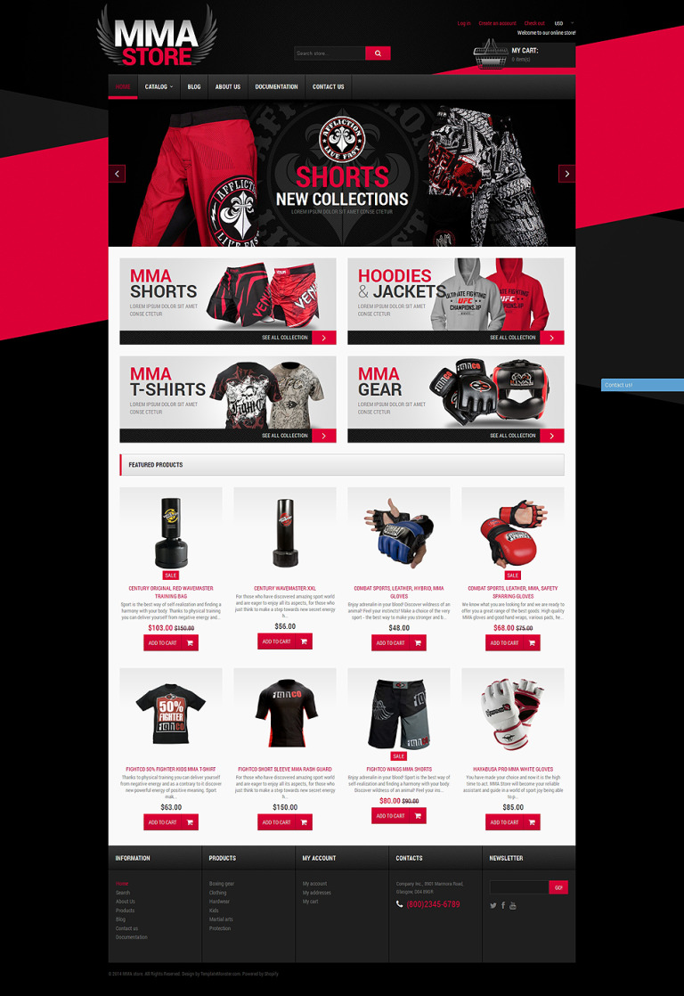 MMA Items Shopify Theme New Screenshots BIG