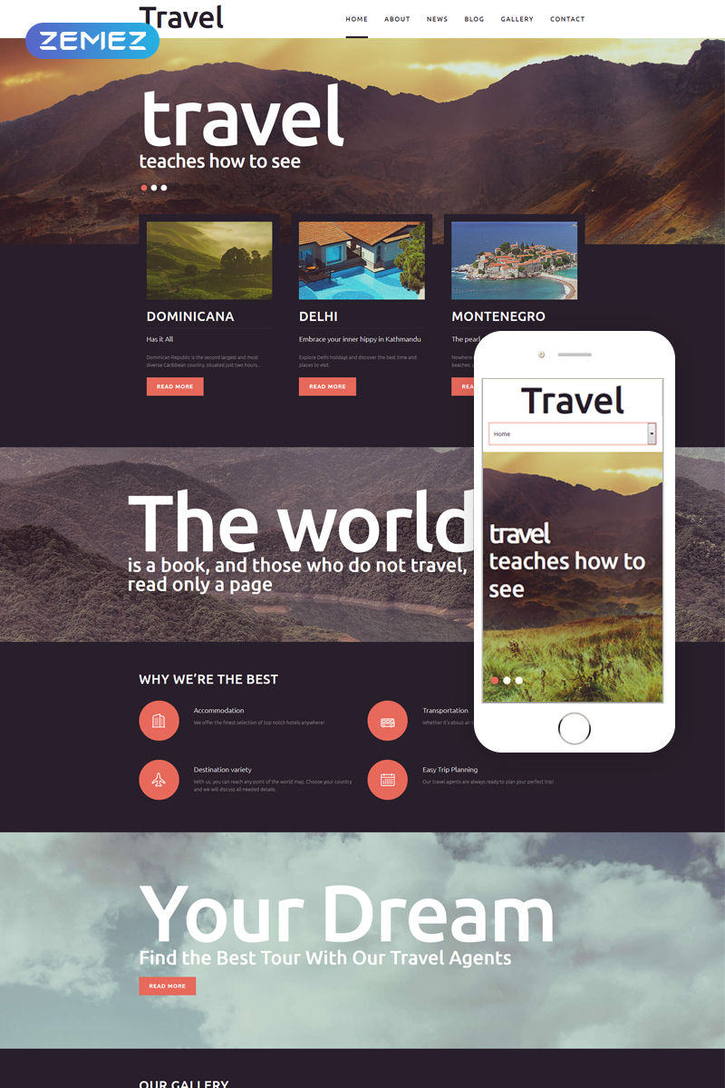 "Modello Joomla Responsive #51191 ""Travel - Fancy Tourism Blog"""