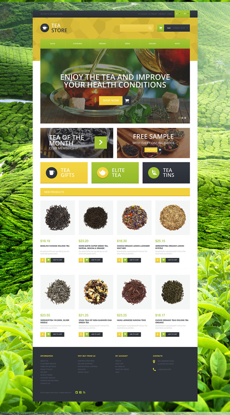 Naturally Grown Tea Magento Theme New Screenshots BIG