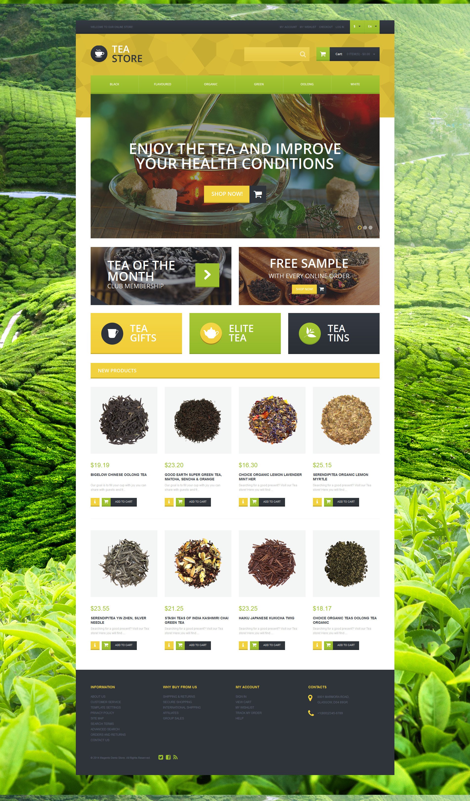 Naturally Grown Tea Magento Theme