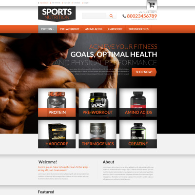 Sports nutrition supplements virtuemart template #49454.