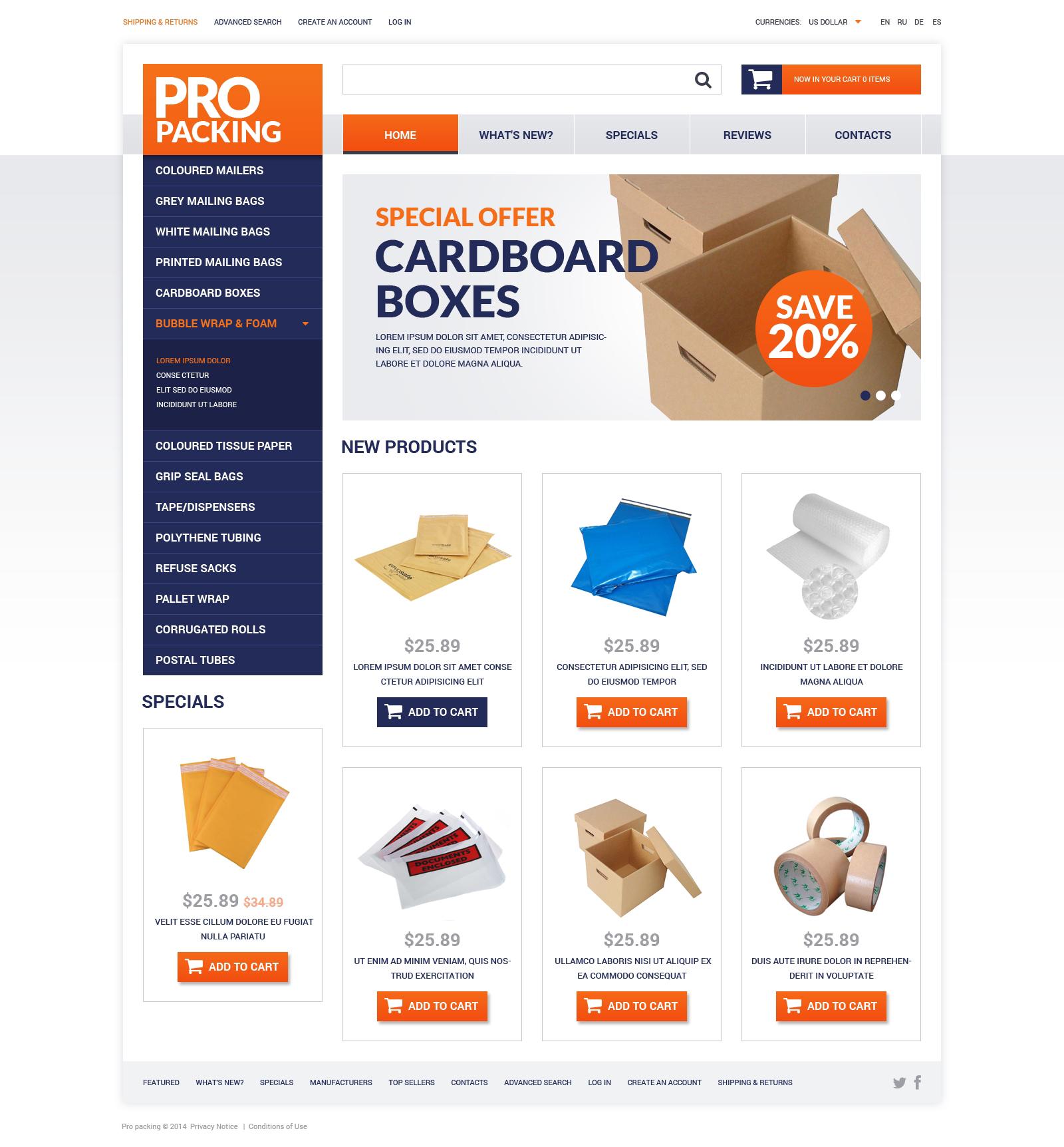 """Plantilla OsCommerce """"Packing Stuff Shop"""" #51199 - captura de pantalla"""