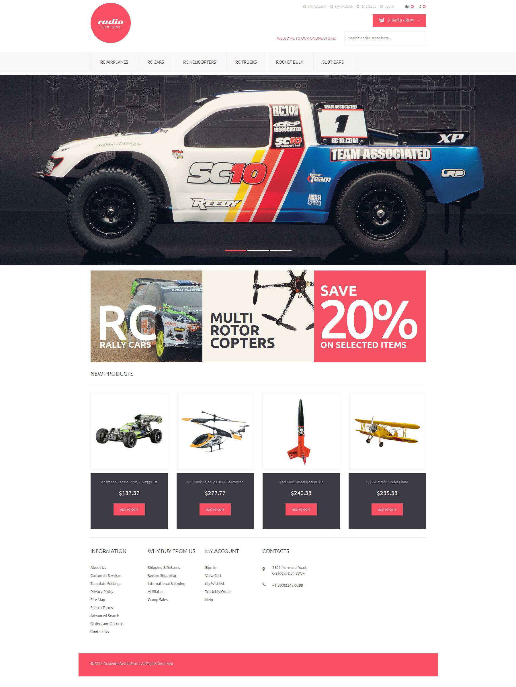 Responsywny szablon Magento RemoteControlled Toys #51121