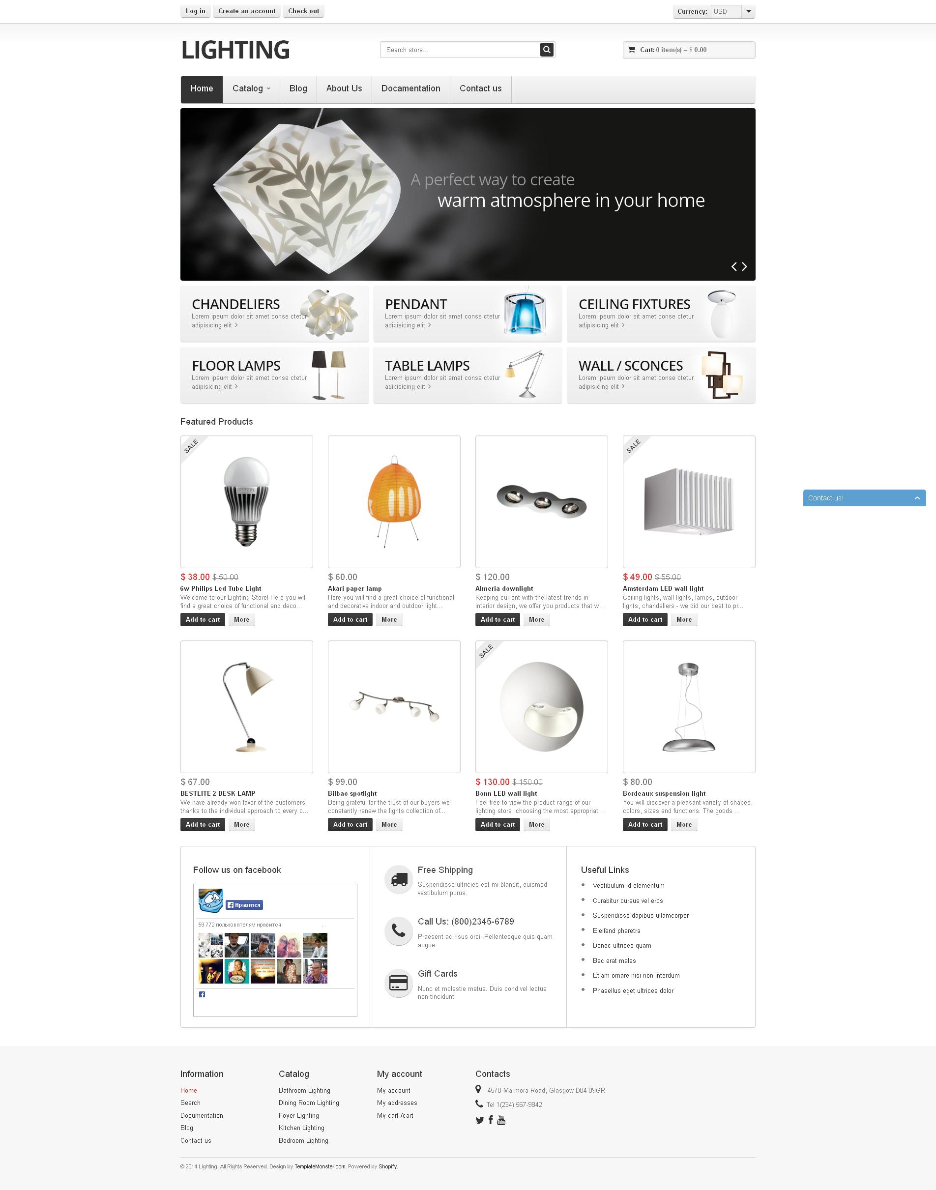 """Responzivní Shopify motiv """"Lighting"""" #51198"""