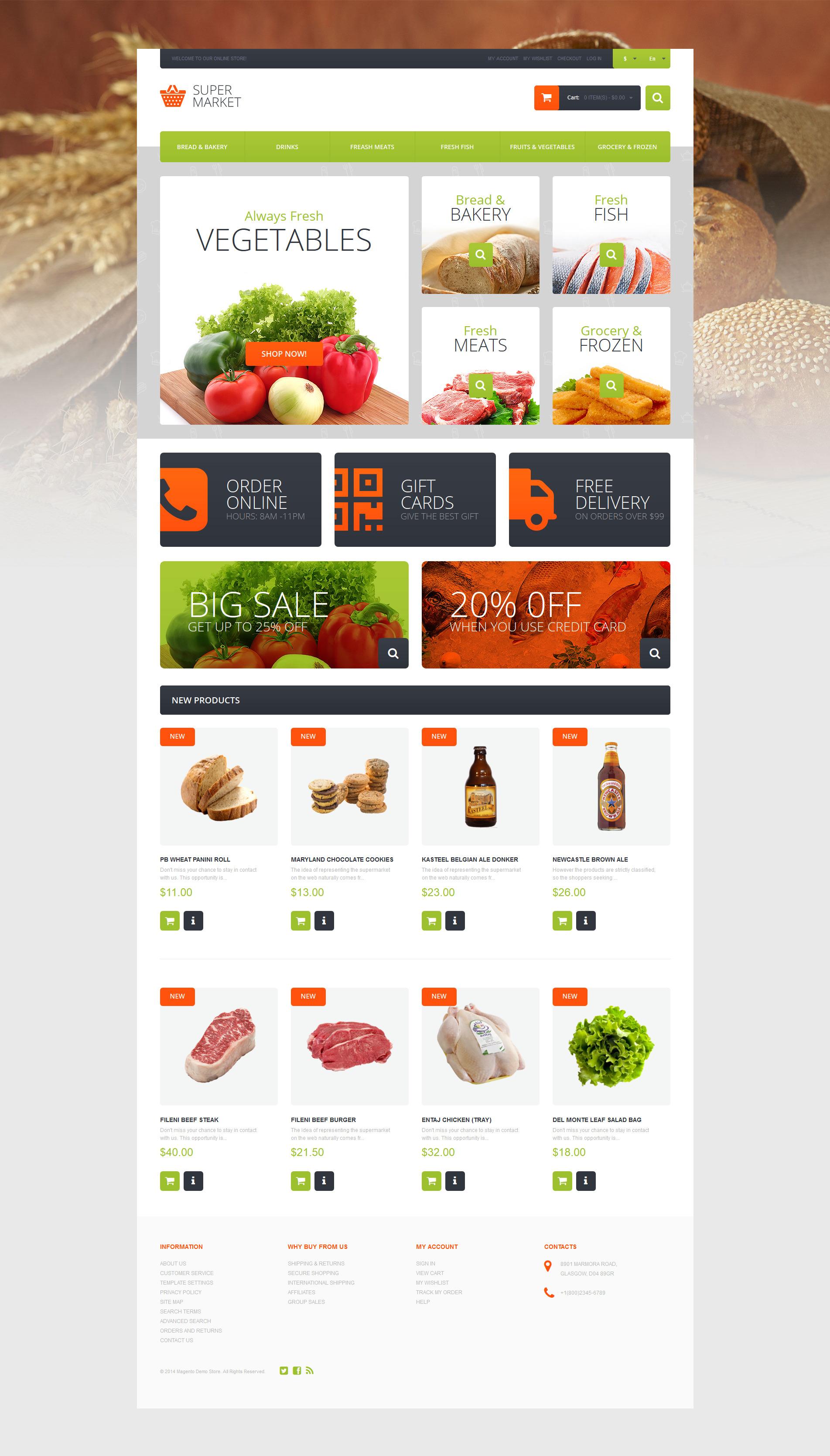Reszponzív Supermarket Template Magento sablon 51119