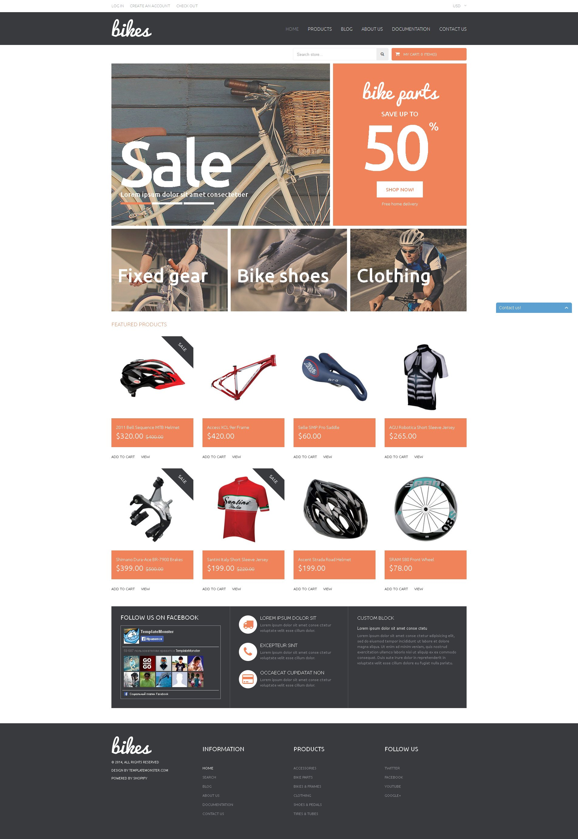 """""""Shopping Bikes  Accessories"""" 响应式Shopify模板 #51147"""