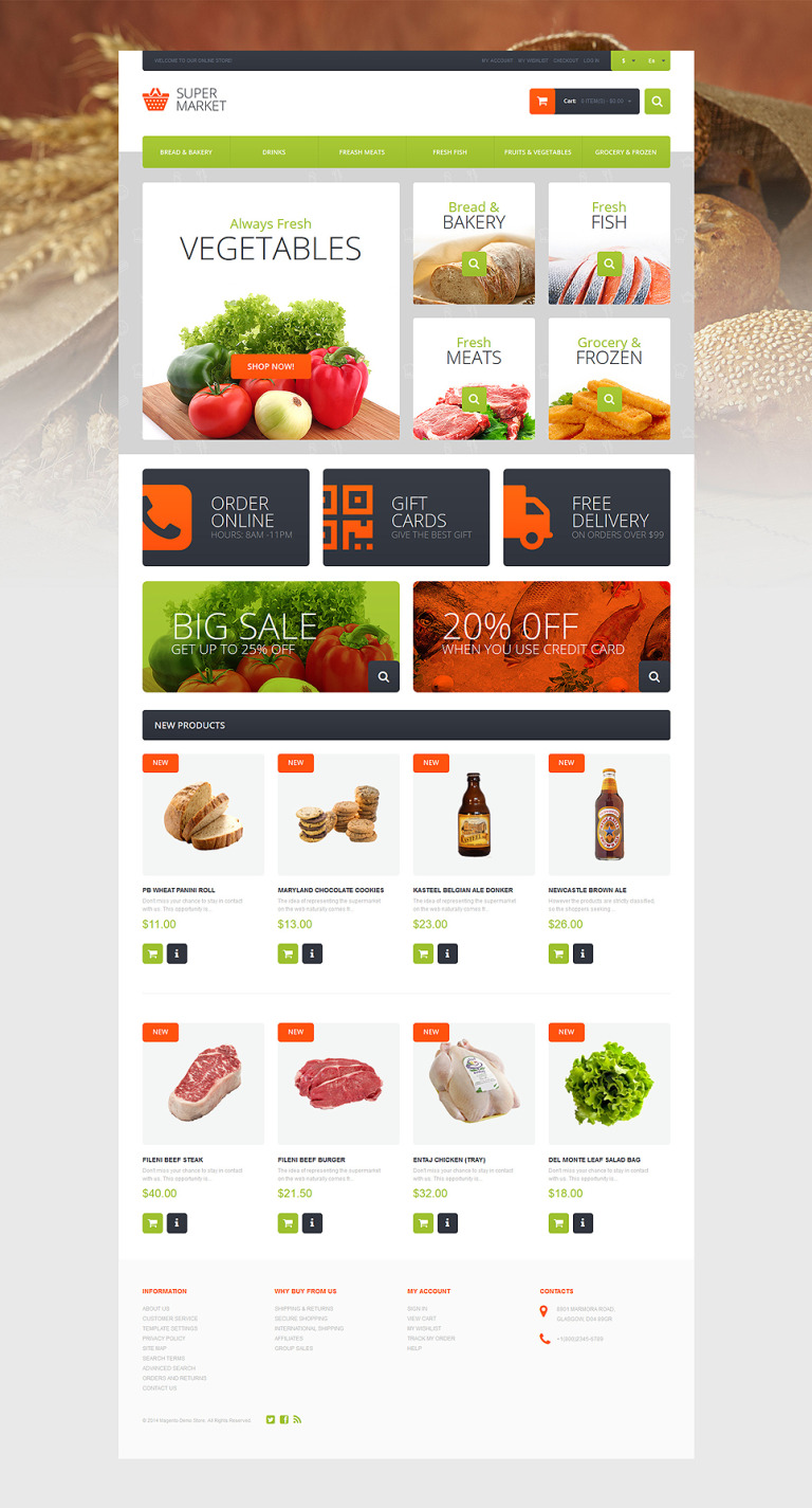 Supermarket Template Magento Theme New Screenshots BIG