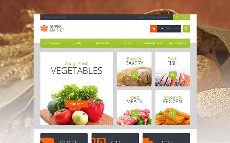 Supermarket Template Magento Theme