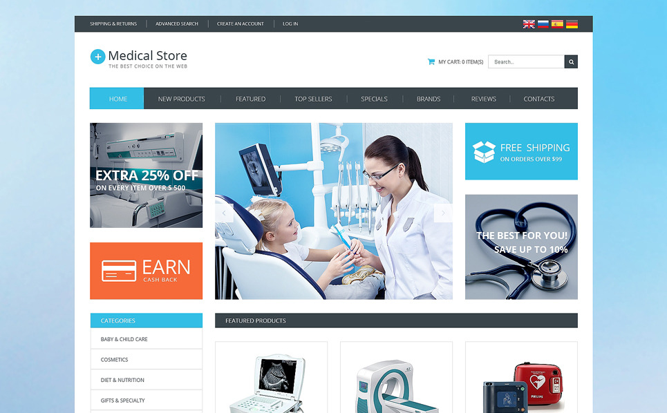 Template osCommerce  #51133 per Un Sito di Attrezzature Mediche New Screenshots BIG
