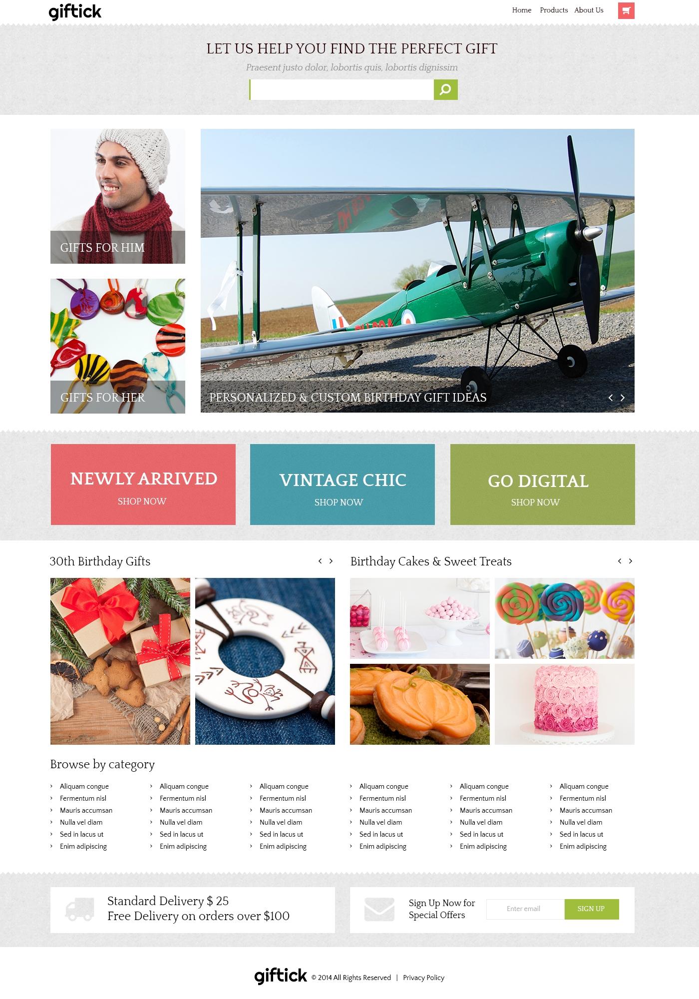 Template Photoshop para Sites de Loja de Presentes №51176