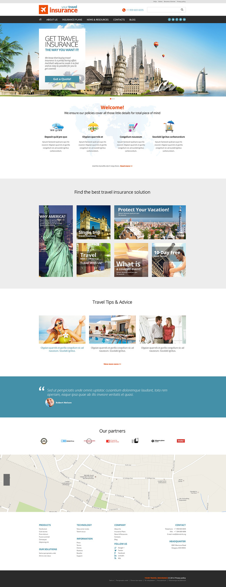 travel insurance website template  Travel Insurance Company WordPress Theme #51127
