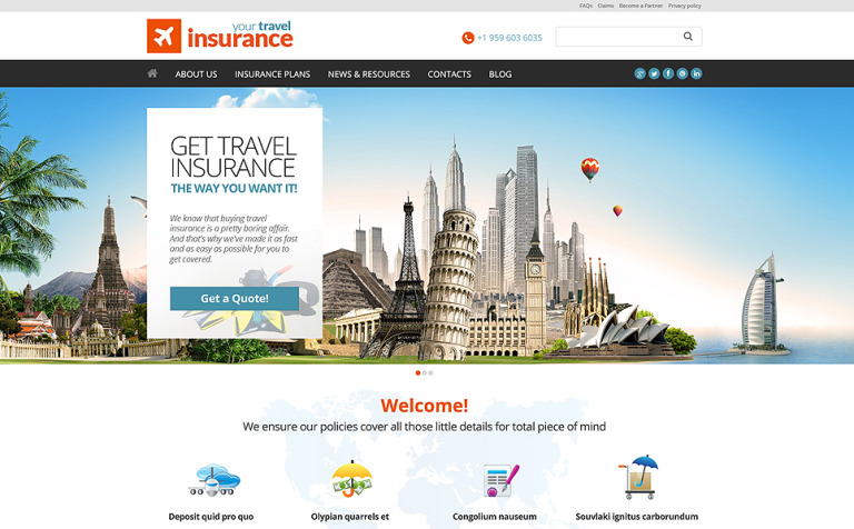 Travel Insurance Company WordPress Theme