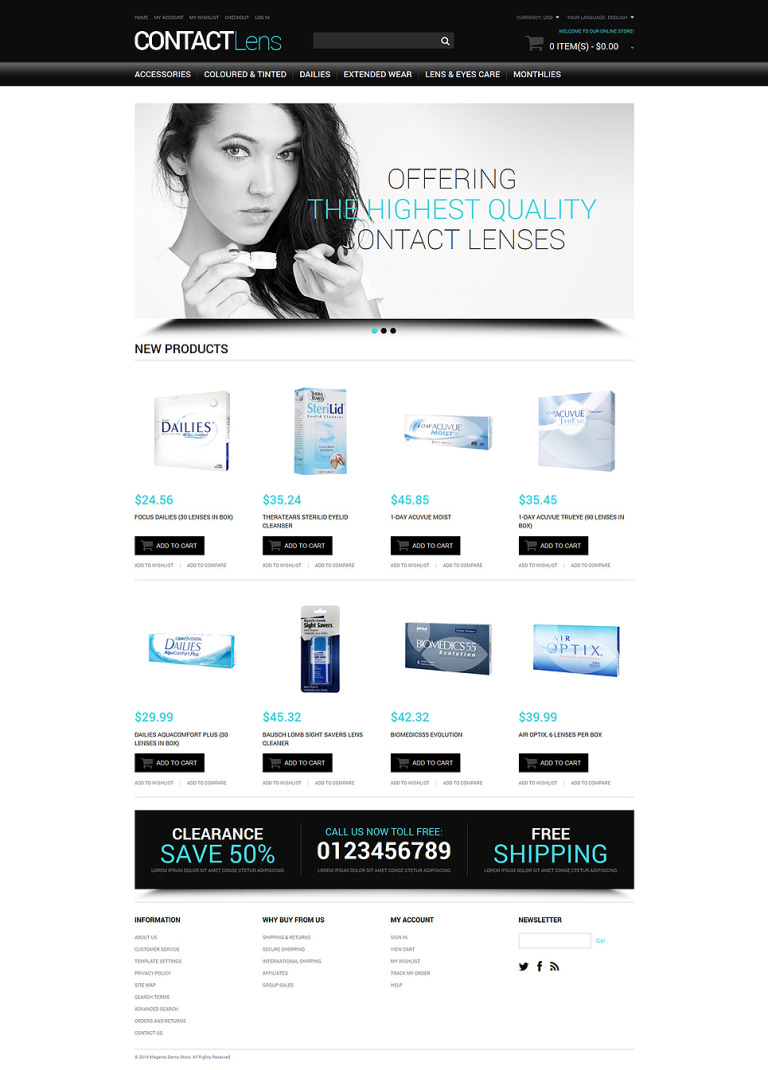 Vision Contact Lenses Magento Theme New Screenshots BIG