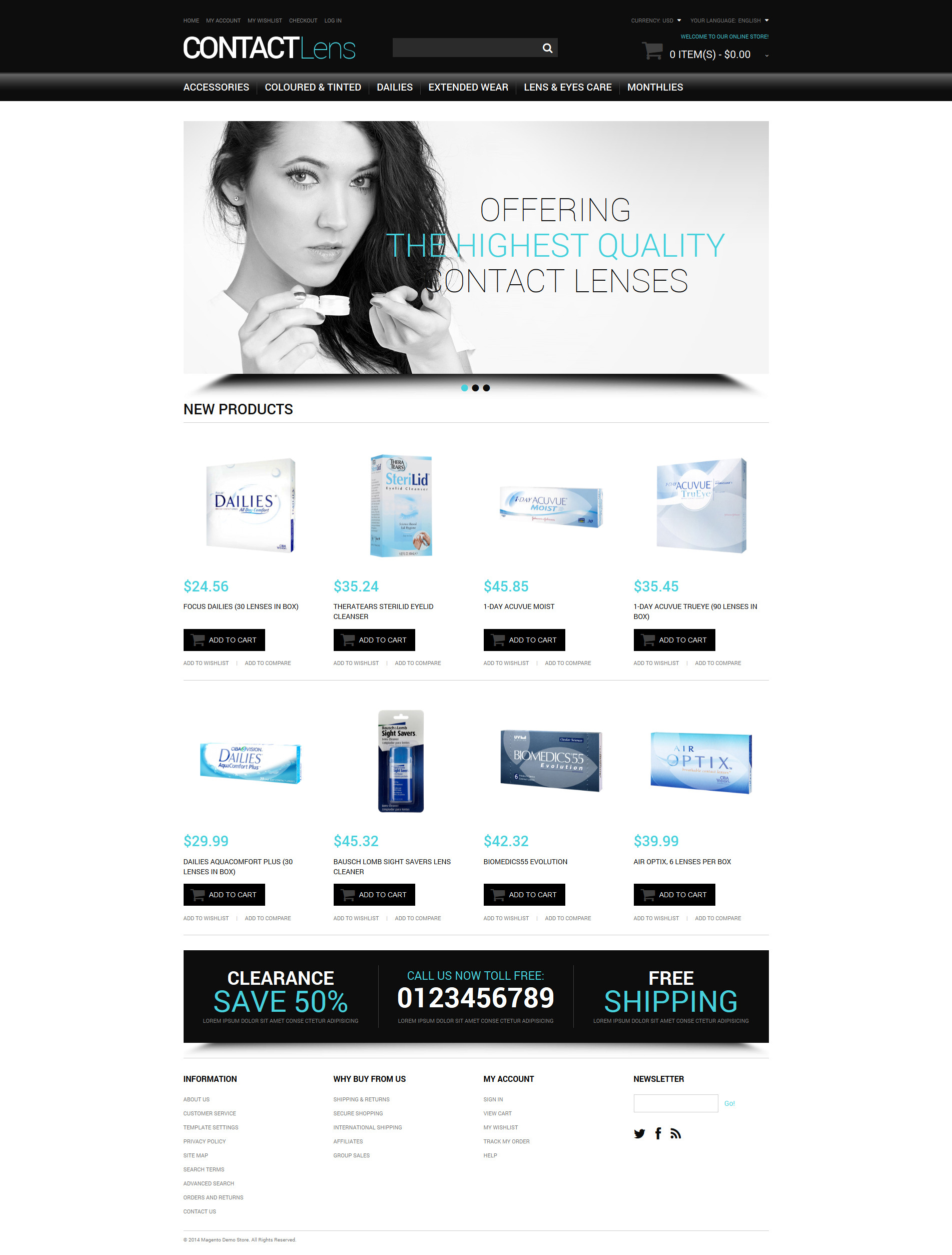 Vision Contact Lenses Magento Theme