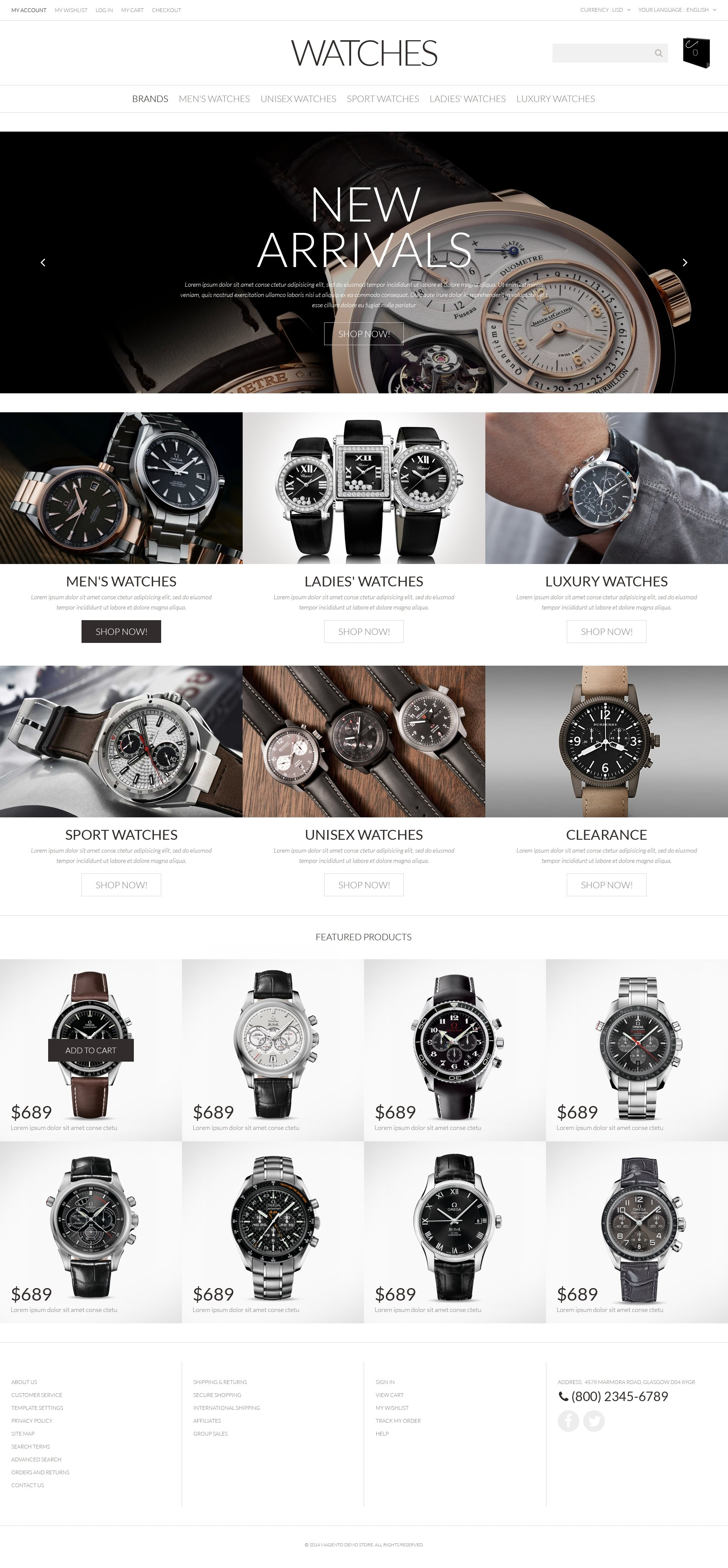 Watches PSD Template
