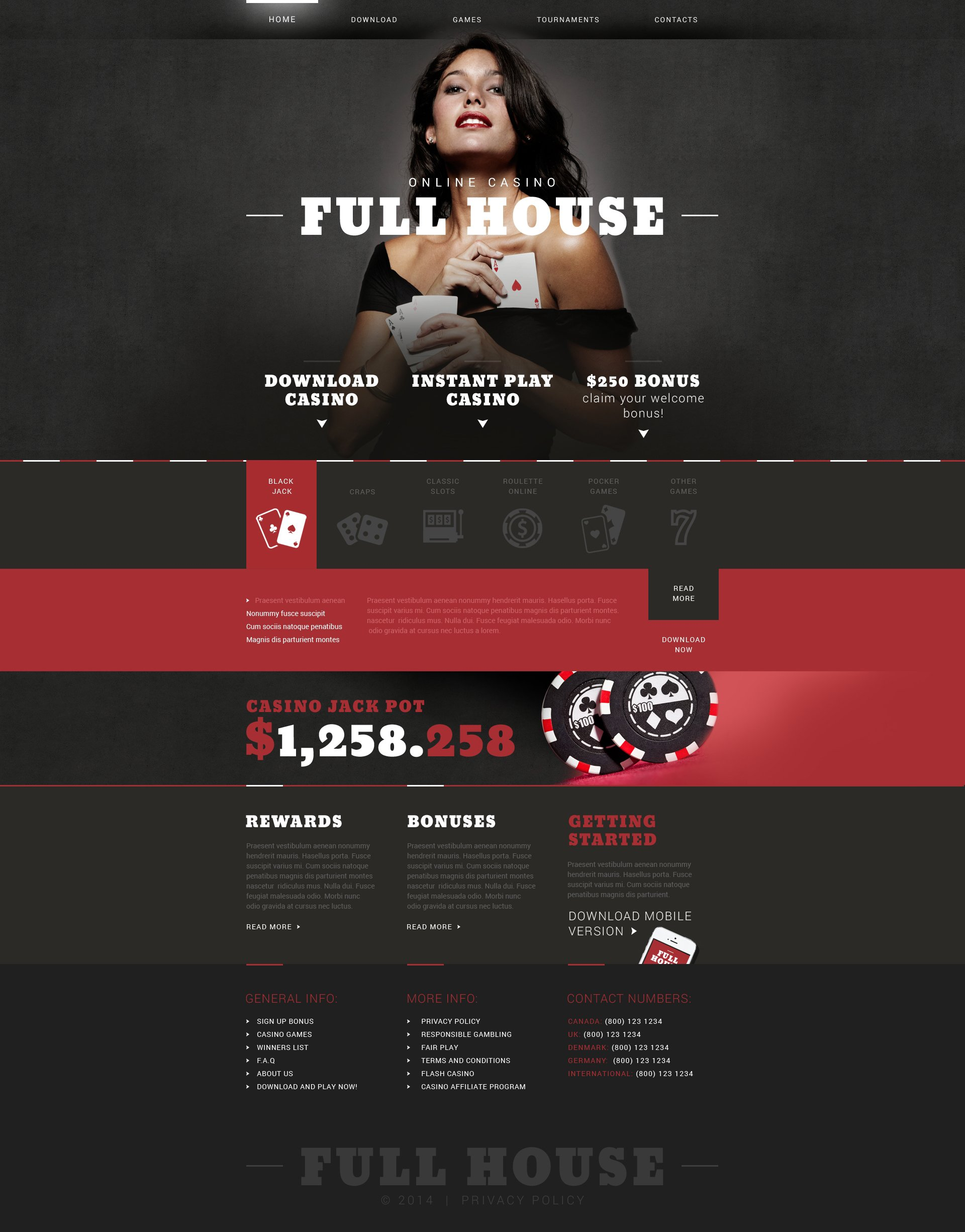 Best Full House Online Casino Responsive Javascript Animated