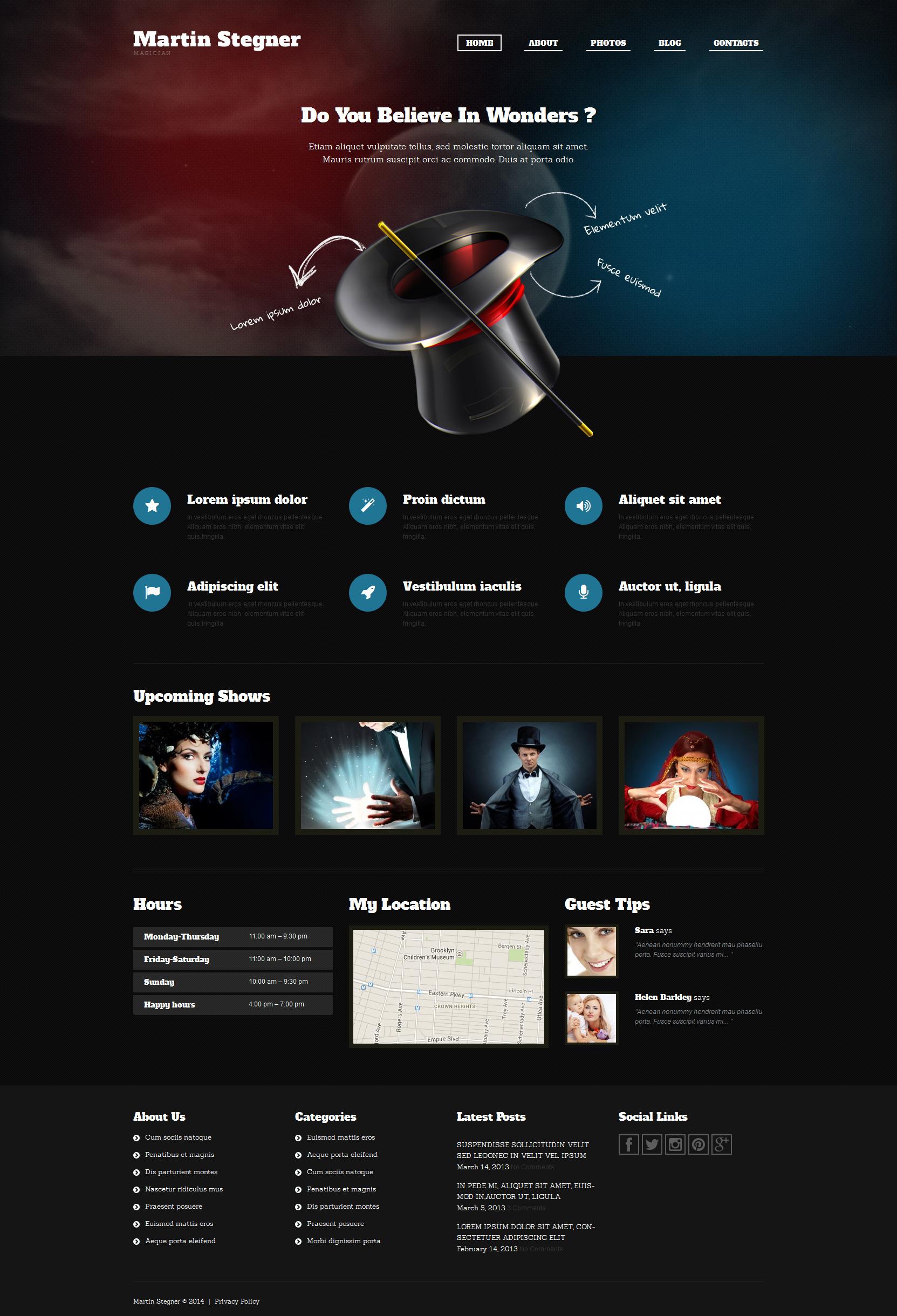 Адаптивний WordPress шаблон на тему фокусник №51293 - скріншот