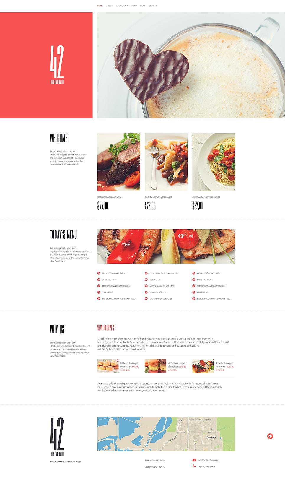 Адаптивный шаблон сайта на тему кафе и ресторан #51248