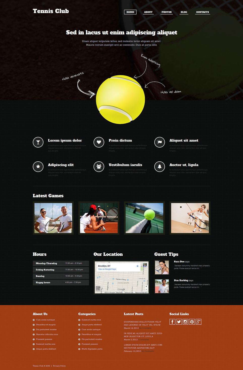 Адаптивный шаблон сайта на тему теннис #51294