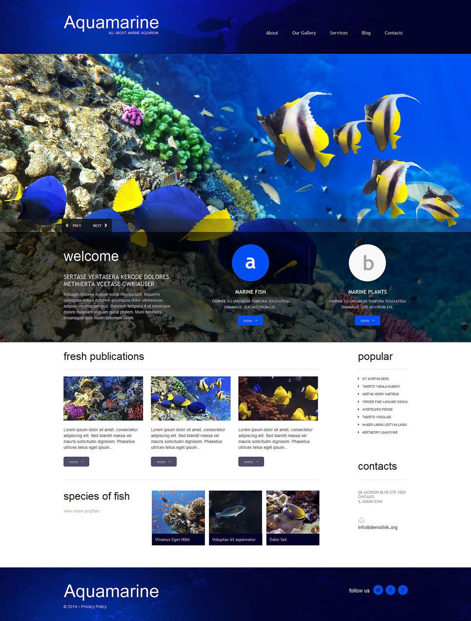 Адаптивный шаблон сайта на тему рыба #51296